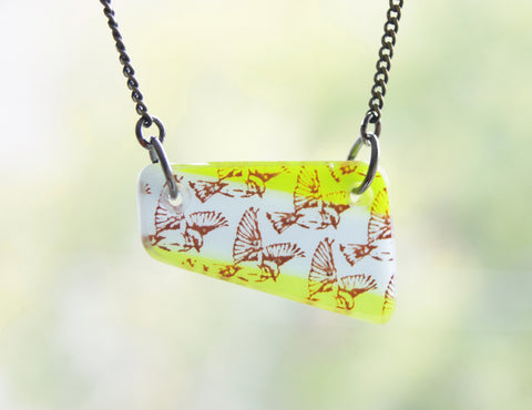 Flying Bird Necklaces, Geometric Flat Glass Pendants on Brass Chain