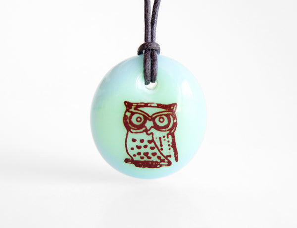 Original owl jewelry in pastel green and blue.