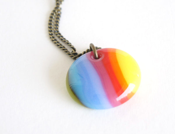 handmade oval rainbow necklace on brass chain