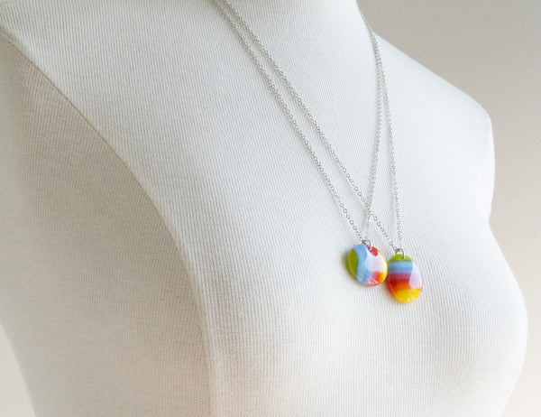 Rainbow Stripe Necklace on Long Chain