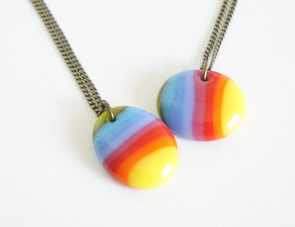 rainbow stripe pendant necklaces on chain