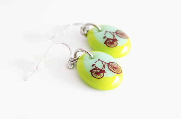 bike earrings handmade in green
