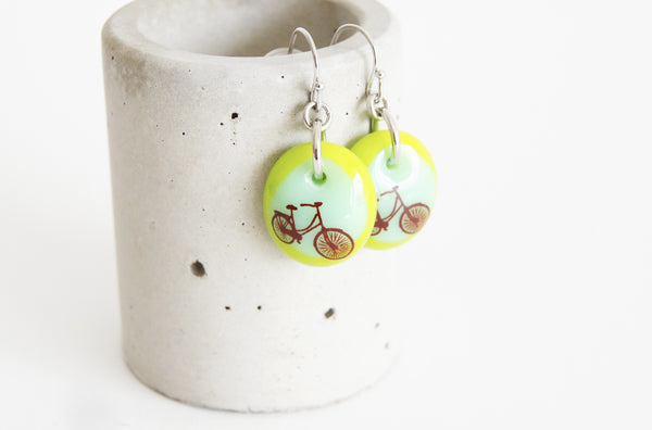 cute green bicycle earrings