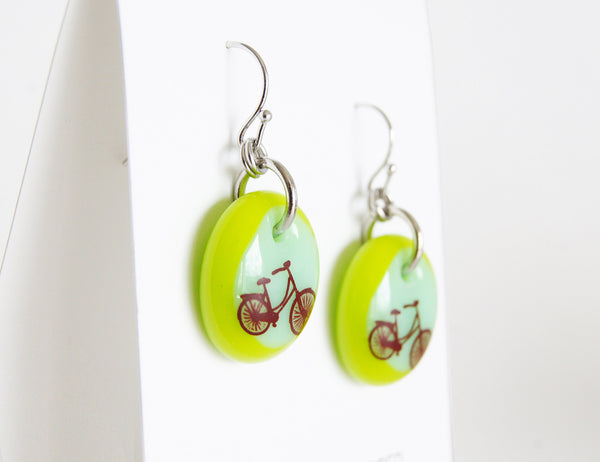 green retro bicycle drop earring handmade in glass