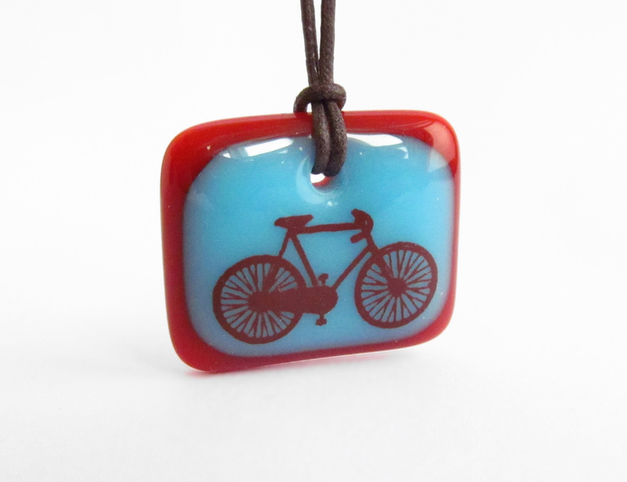 road bike pendant necklace – aqua blue and red