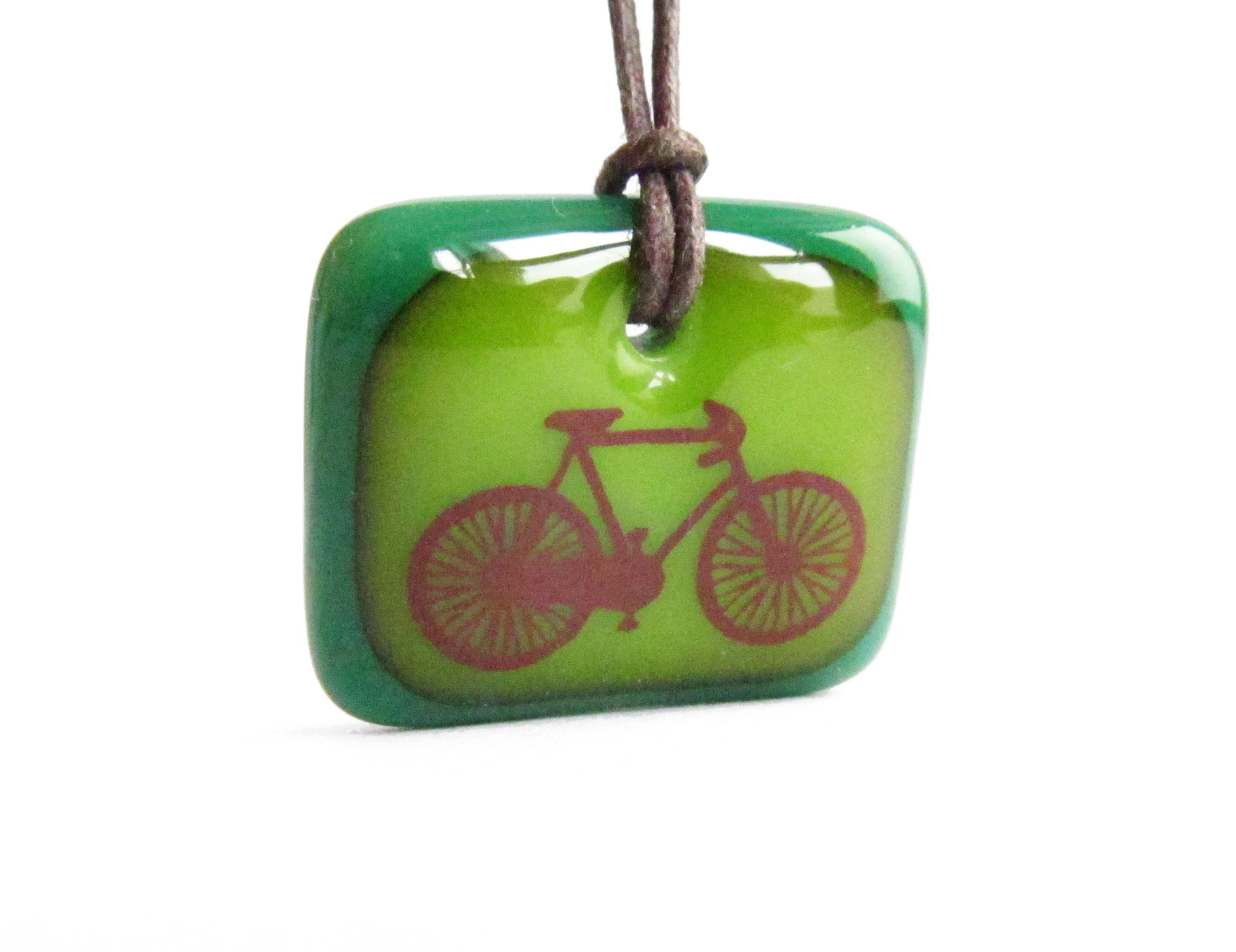 Green road bike necklace handmade gift for bicycle lovers.