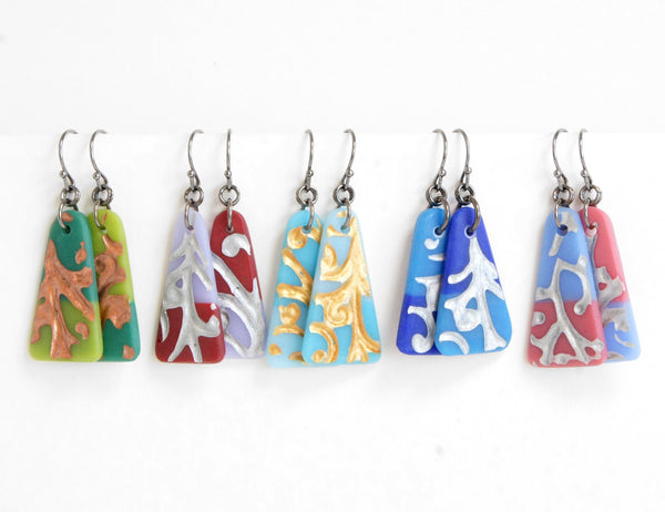 limited batch of colorful press glass earrings