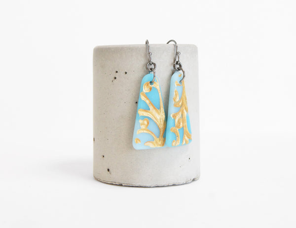 matte glass aqua blue earrings with gold