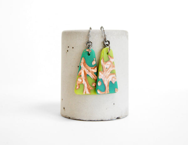 artisan earrings with olive and jade green vine design with copper