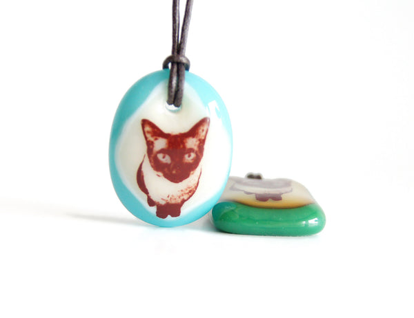 Cute siamese cat necklace handmade in jade green or turquoise.
