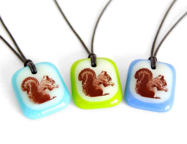 Squirrel necklaces in multi colours.
