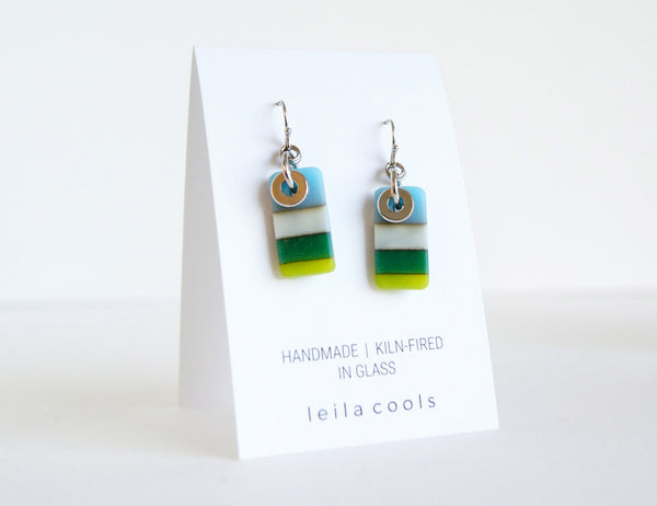color block earrings handmade in blue and green glass