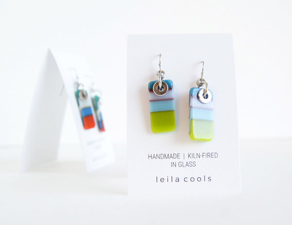handmade drop earrings in teal blue, turquoise and green
