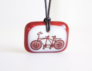Red Tandem bicycle pendant necklace
