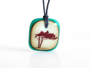 Tree Necklace Pendant in caramel and jade green.