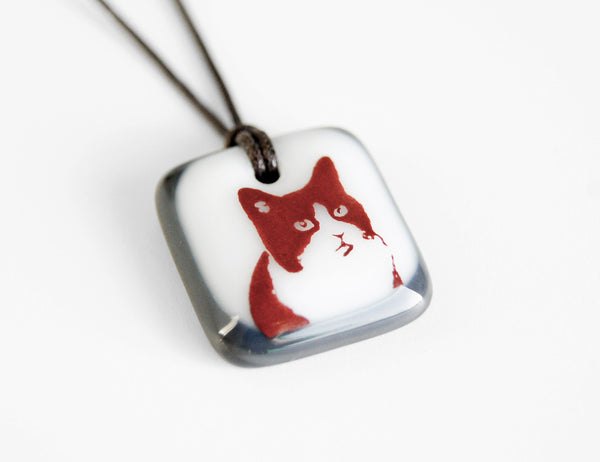 Tuxedo Cat Pendant Necklace in Charcoal Grey