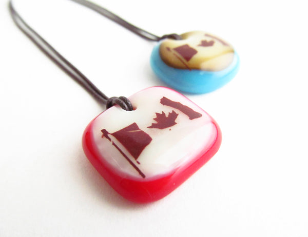 Canada Flag necklace handmade in glass.