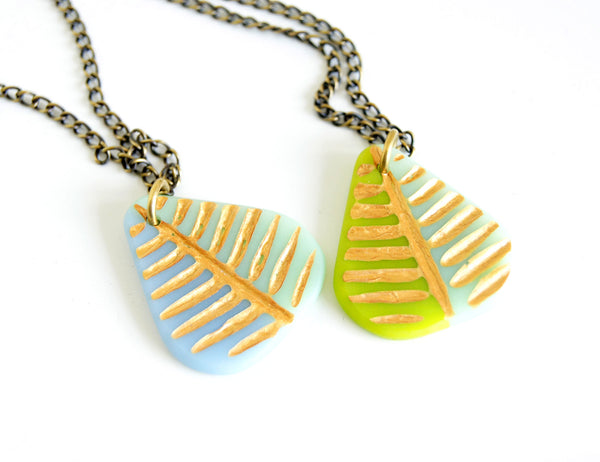 Leaf Necklace with Gold