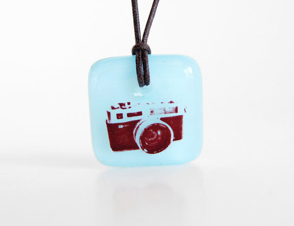 Vintage Camera Necklace in light aquamarine blue