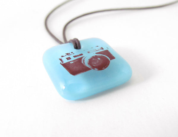 Film camera necklace handmade in glass