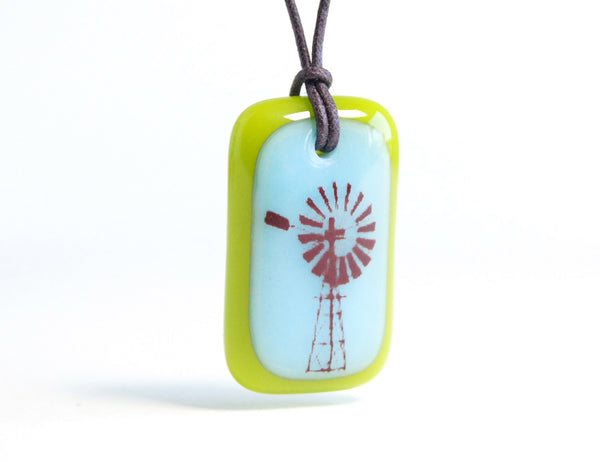 windmill necklace in blue and green