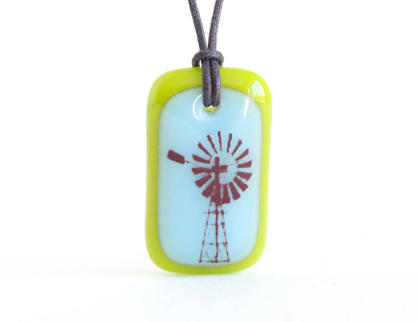 handmade glass necklace with windmill photo transfer