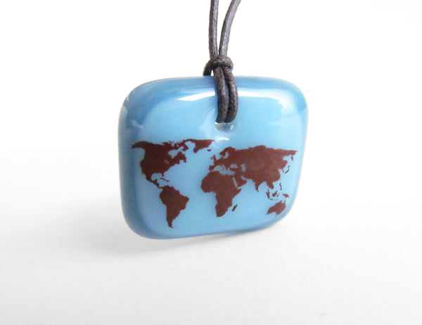 Geography jewelry with world map.