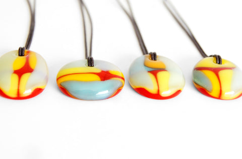 Sunny Yellow glass pendant necklaces, limited run
