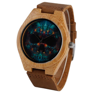Skull Gothic Style Wood Watches Handmade Wooden Bamboo - mymhappybuy