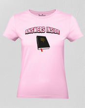 Christian Women T Shirt Holy Bible Answers Inside pink tee