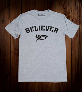 Believer Jesus Christ Christian Fish Sign Christian Grey T Shirt