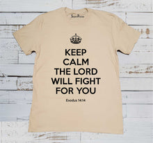 Calm the Lord Will Fight Christian Beige T Shirt