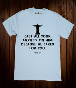 Cast All Your Anxiety Christian Sky Blue T Shirt