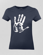 Christian Women T shirt Cross on Hand Navy tee