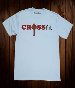 Crossfit Christian Cross Religious Sky Blue T-shirt