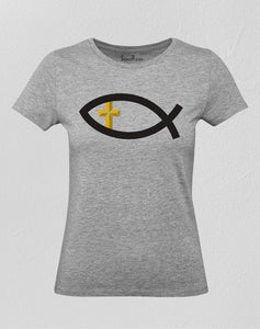 Christian Women T Shirt Early Fish Sign Cross Grey tee