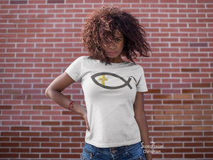 Christian Women T Shirt Early Fish Sign Cross Ladies tee