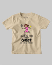 Kids Christian T Shirt Play Tennis Jesus Christ Girl Gift tee