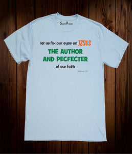 Eyes On Jesus The Author & Pefector Christian Sky Blue T-shirt