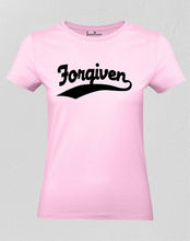 Christian Women T Shirt Forgiven Jesus Slogan Pink tee