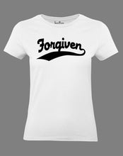 Christian Women T Shirt Forgiven Jesus Slogan White Tee