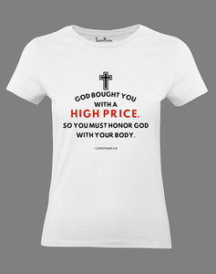Christian Women T Shirt God Bought You With A High Price