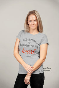 Women Christian T Shirt God Remains Heart Jesus Holy Ladies tee