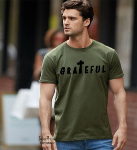 Grateful Jesus Cross Christian T Shirt Tee - Super Praise Christian