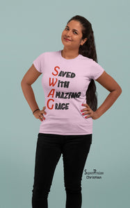 Christian Women T Shirt Saved Amazing Grace Ladies tee