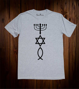 Hanukkah Lamp Star of David Early Christian Fish Sign Christian Grey T shirt