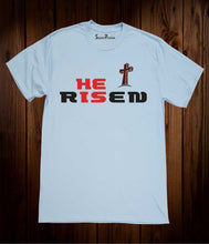 He Is Risen Slogan Christian Sky Blue T Shirt