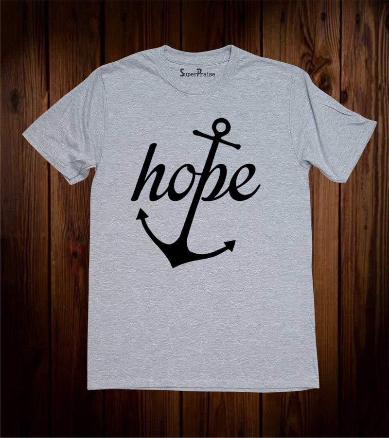 Hope Anchor Religious Bible Christian Grey T-shirt