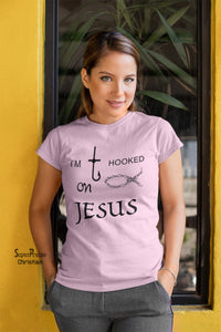 Christian Women T Shirt I Am Hooked On Jesus Pink tee