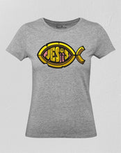 Christian Women T Shirt Jesus Fish Sign Grey tee